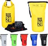 relaxdays Ocean Pack 20 liter - waterdichte tas - strandtas - zeilen - outdoor plunjezak geel