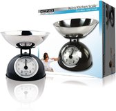 Retro kitchen scale with stainless steel bowl black