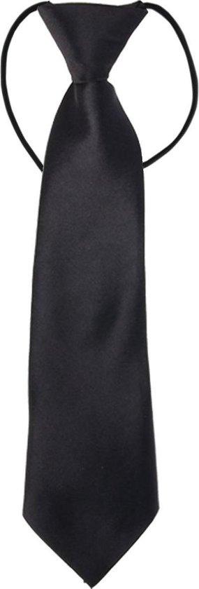 Fako Fashion® - Kinderstropdas - Stropdas - Das - Effen - Elastiek - Zwart