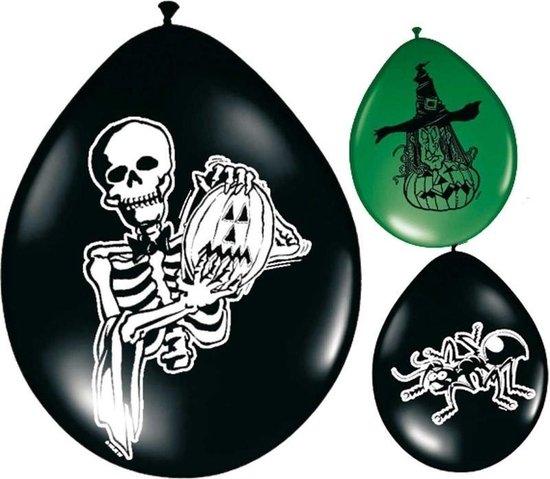 Griezel horror/halloween thema ballonnen 8 stuks - feestartikelen, decoratie en versiering