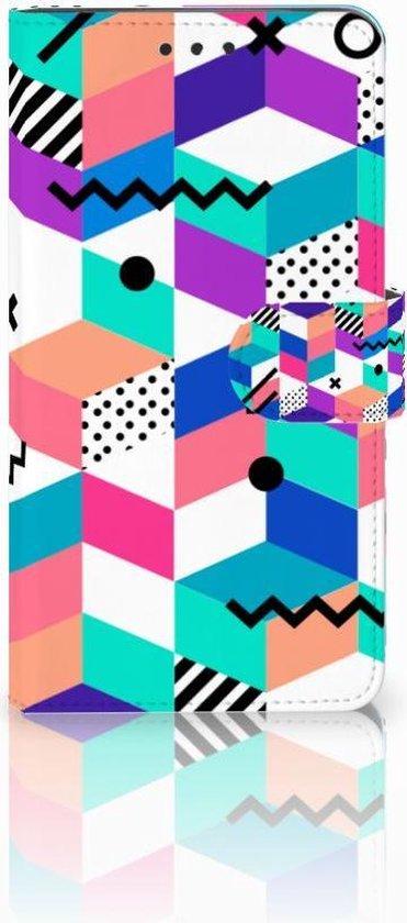 Nokia 6 (2018) Wallet Book Case Hoesje Design Blocks Colorful