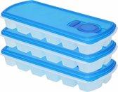 3x Ijsblokjes/ijsklontjes vormen met deksel blauw - 12 stuks - Ijsblokjes/ijsklontjes makers