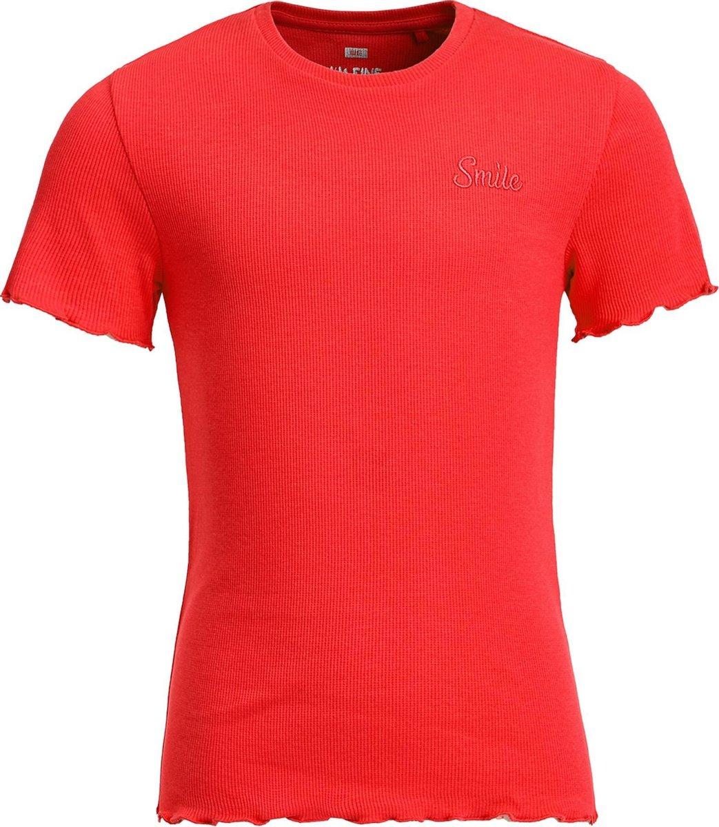 WE Fashion Meisjes slim fit T-shirt met ribstructuur