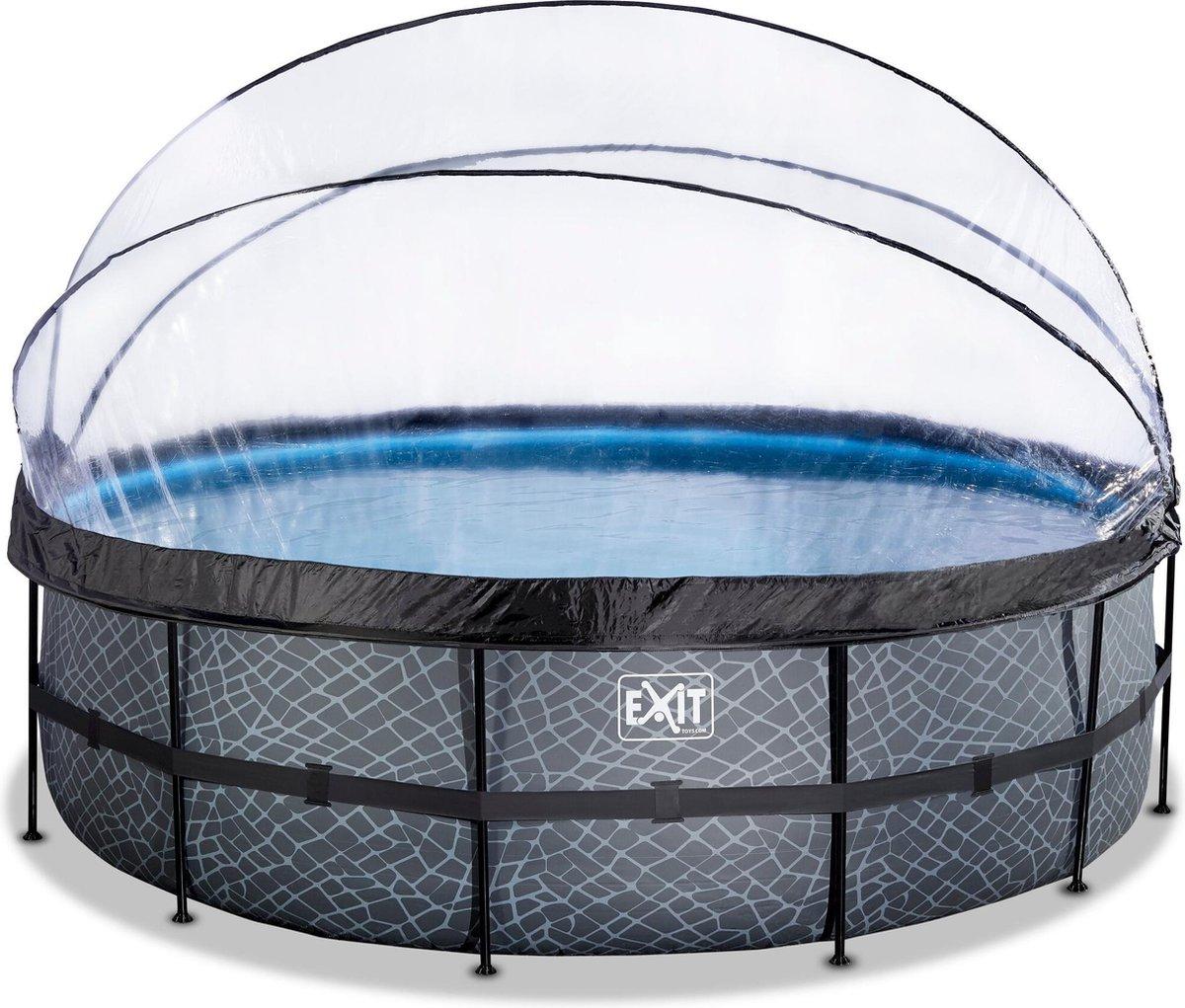 EXIT Stone zwembad ø488x122cm met overkapping en zandfilterpomp - grijs