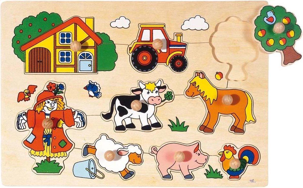 Goki 9-delige houten puzzel boerderij