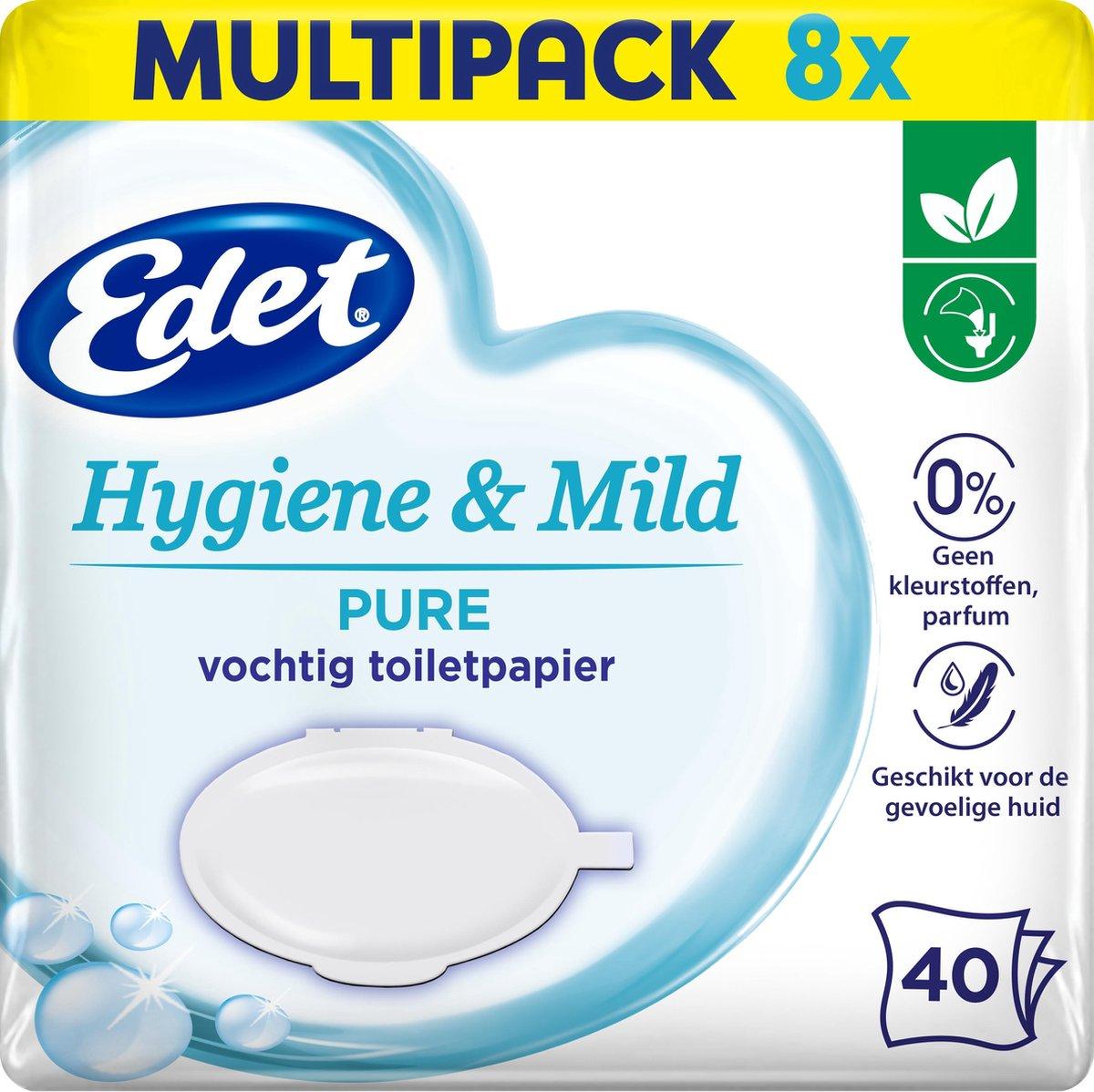 Edet Pure vochtig toiletpapier - 8 x 40 stuks - halfjaar voorraad