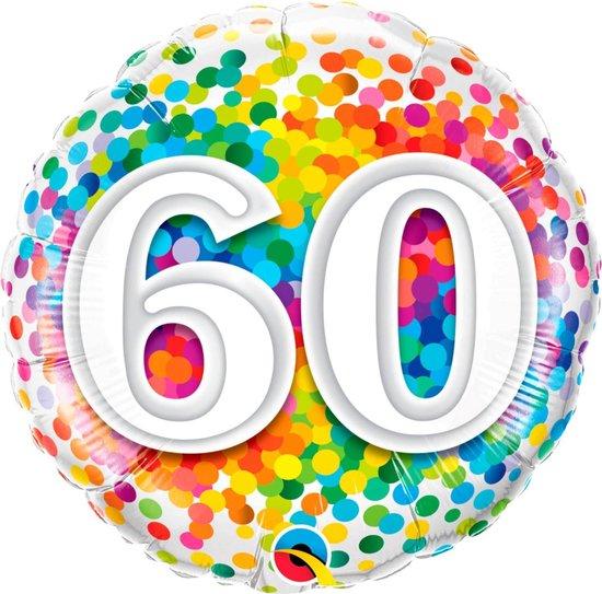 Folieballon - 60 Jaar - Regenboog confetti - 43cm - Zonder vulling