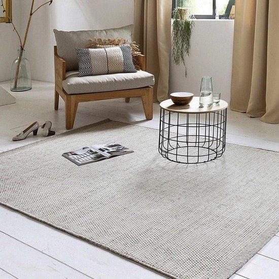 Wollen Vloerkleed - Industrieel Scandinavisch Design - Modern Vloer Tapijt - Voor Woonkamer/Slaapkamer - Beige/Creme - 160x200 Groot