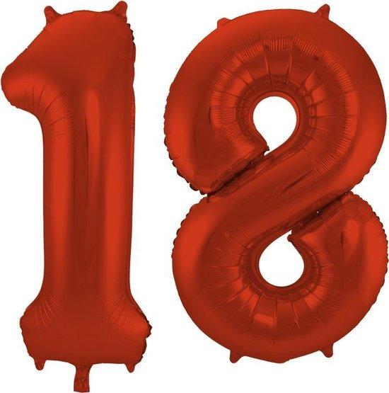 Cijfer 18 Rood Helium 86 cm