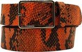 Oranje riem - Fluo Python Orange  Dames riem - Broekriem Dames - Dames riem -  Dames riemen - heren riem - heren riemen - riem - riemen - Designer riem - luxe