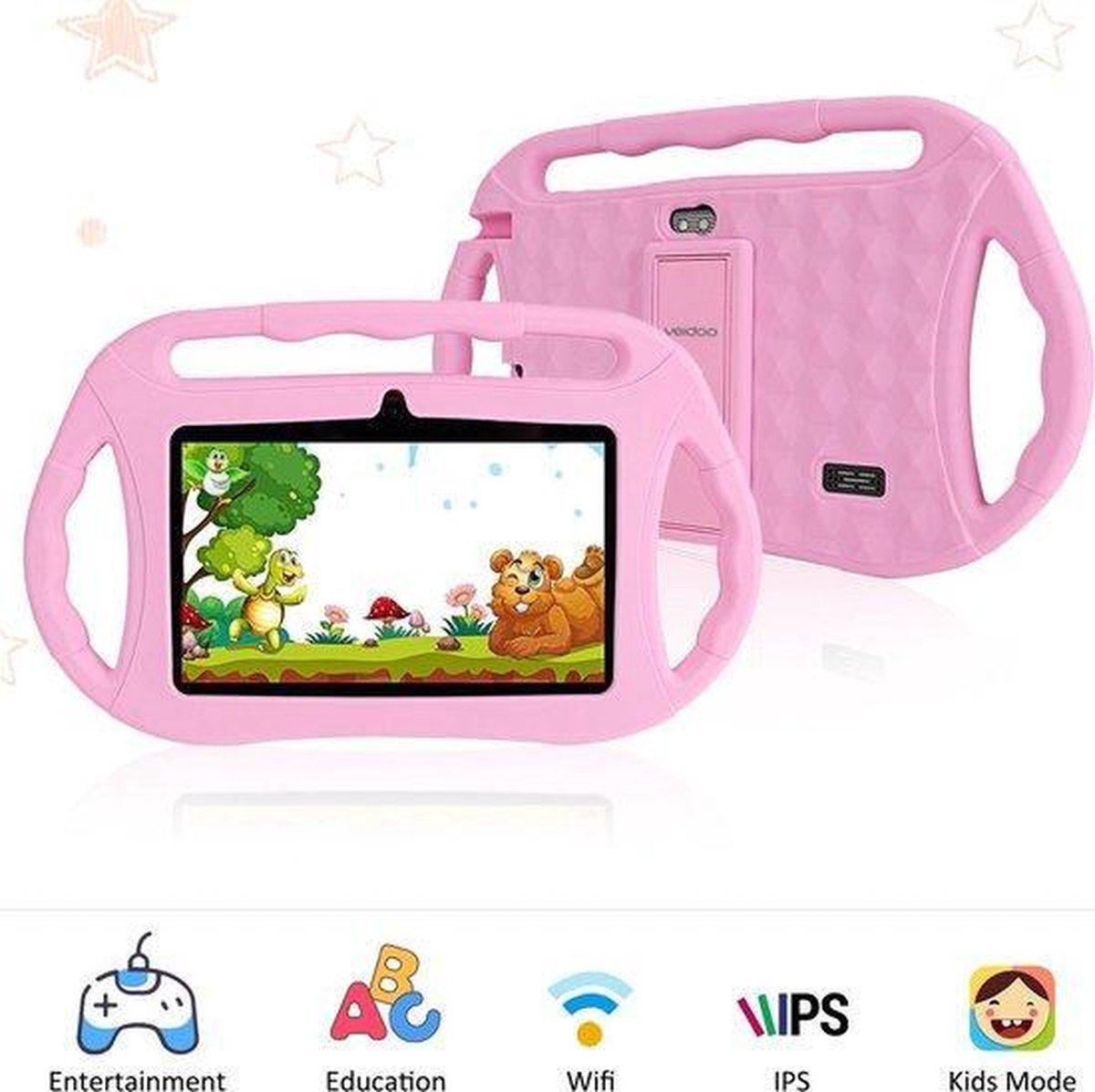Veidoo special - Kindertablet - tablet 7 inch - 16 GB - vanaf 2 jaar - Scherp beeld - leerzame tablet voor kinderen - Wifi - Bluetooth - camera - spellen - Inclusief kinderhorloge - ROZE