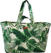 Big Shopper/Grote Strandtas/Weekendtas XXL Dames Shopper - Groen Palmbladeren - Canvas