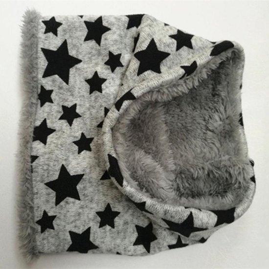 Zachte gevoerde sjaal | grijs met sterren |  6-24 maanden - MicMo