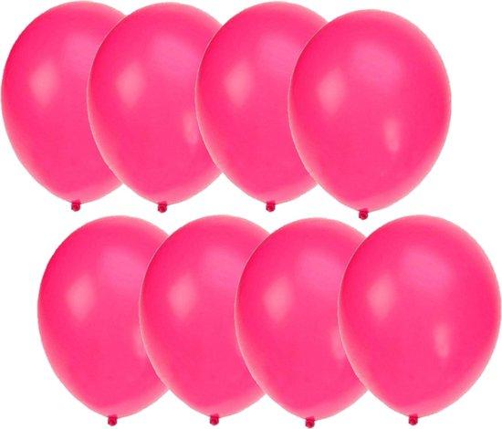 75x stuks Neon roze party ballonnen 27 cm - Feestartikelen/versieringen