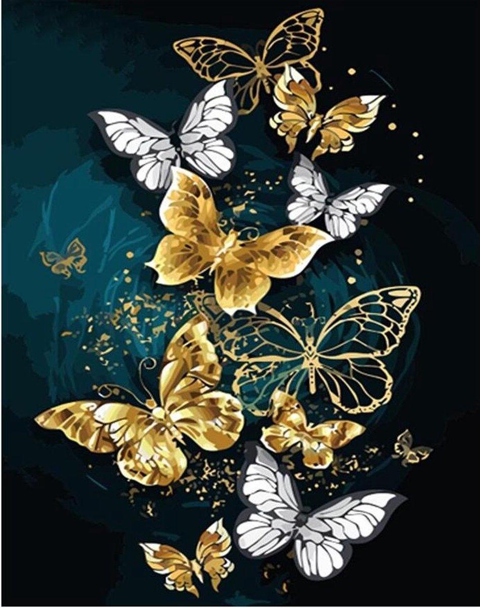 Premium Paintings - Gouden Vlinders - Diamond Painting Volwassenen - Pakket Volledig / Pakket Full - 30x40 - Moederdag cadeautje