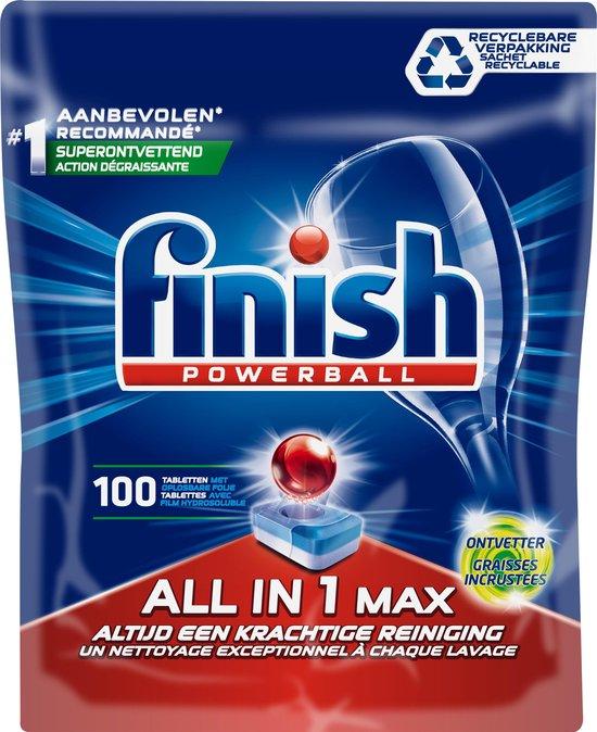 Finish All in 1 Max Ontvetter Vaatwastabletten - Kwartaal Pak - 100 Stuks