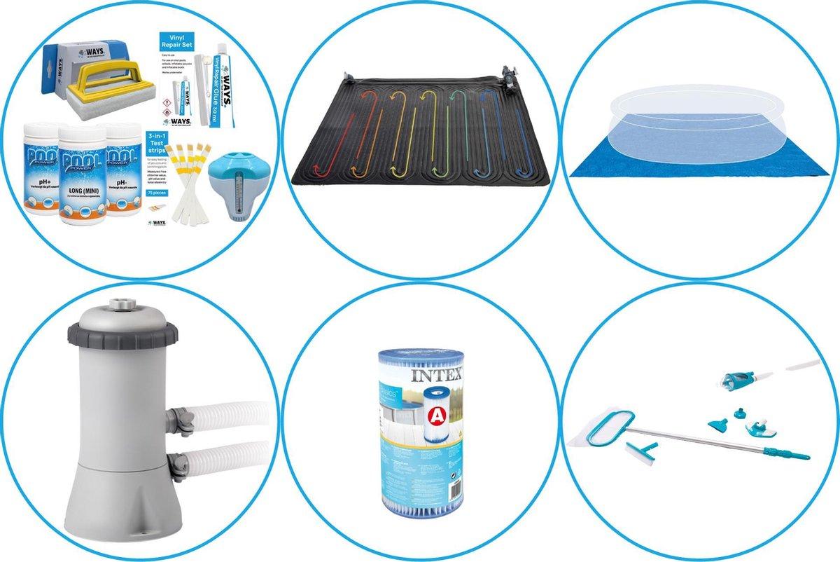 Zwembad Accessoirepakket 5-delig - WAYS Onderhoudspakket & Zwembad verwarming & Filterpomp (28604GS) + Filter & Onderhoudsset Deluxe & Grondzeil