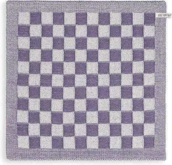 Knit Factory Keukendoek Block - Ecru/Violet - 50x50 cm