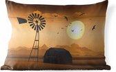 Buitenkussens - Tuin - Een illustratie van een boerderij en een windmolen in de schemering - 50x30 cm