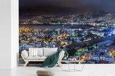 Fotobehang vinyl - Avondfoto van Beiroet in Libanon breedte 390 cm x hoogte 260 cm - Foto print op behang (in 7 formaten beschikbaar)