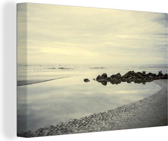 Bol Com Strand In De Ochtend Canvas 180x120 Cm Foto Print Op Canvas Schilderij