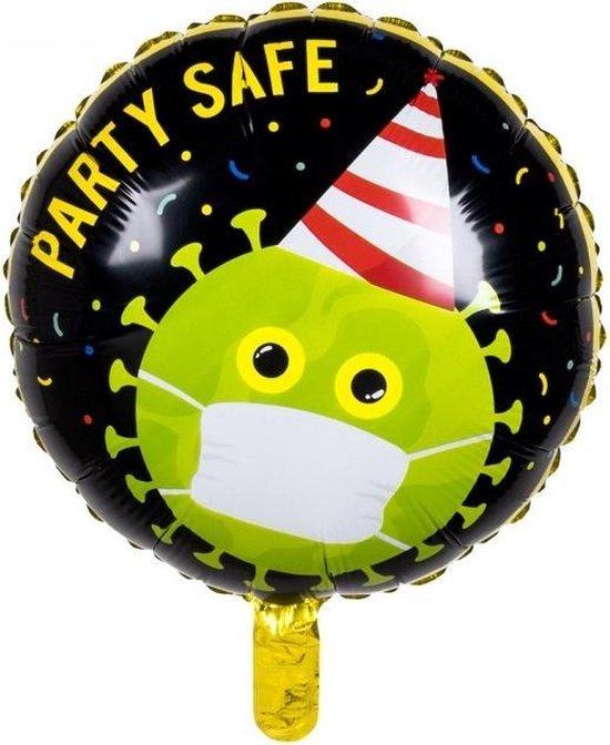 Boland - Folieballon Party Safe - 45 cm - Virus - Mondkapje - Zwart/groen