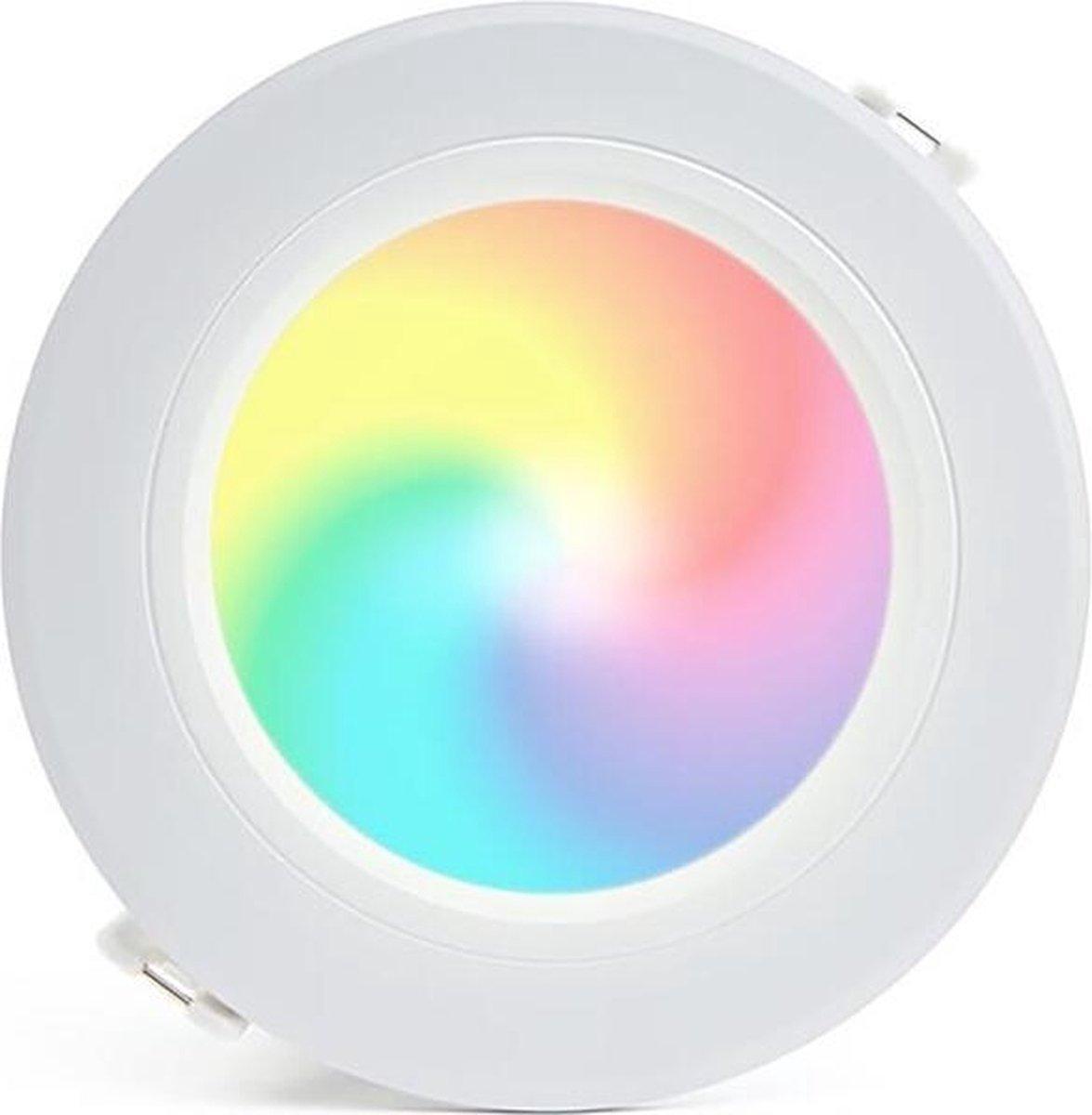 Mi-Light - LED Downlight - Smart LED - 6W - RGB+CCT - Aanpasbare Kleur - Dimbaar - Inbouw Rond - Mat Wit - Aluminium - Ø120mm