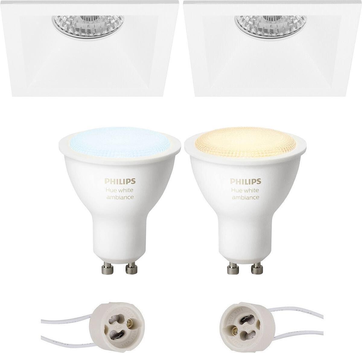 PHILIPS HUE - LED Spot Set GU10 - White Ambiance - Bluetooth - Proma Pollon Pro - Inbouw Vierkant - Mat Wit - Verdiept - 82mm