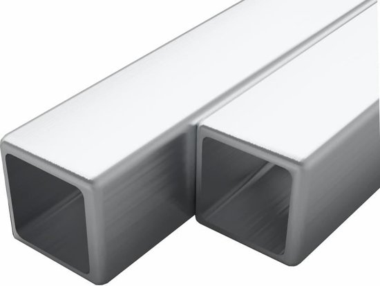 vidaXL Buizen vierkant stekkersectie V2A 2m 30x30x1,9mm rvs 2 st  VDXL_143206