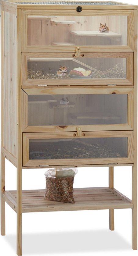 relaxdays hamsterkooi hout - knaagdierhok - knaagdierenkooi - 120 cm - 3 etages - XXL