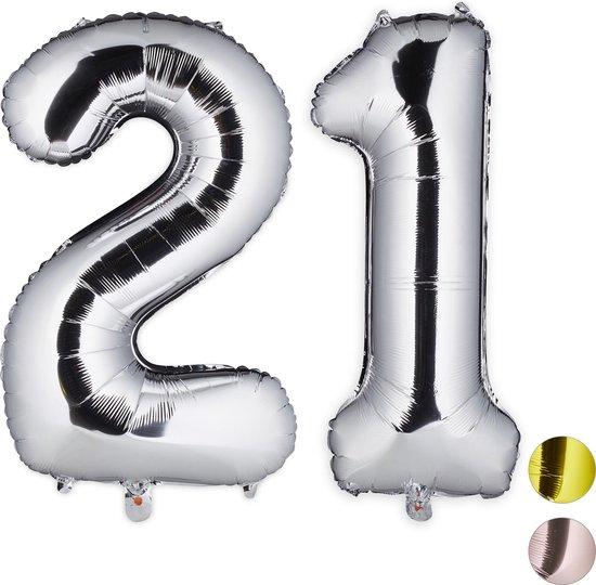 relaxdays folie ballon - cijfer 21 - luchtballon getal - decoratie - grote folieballonnen zilver