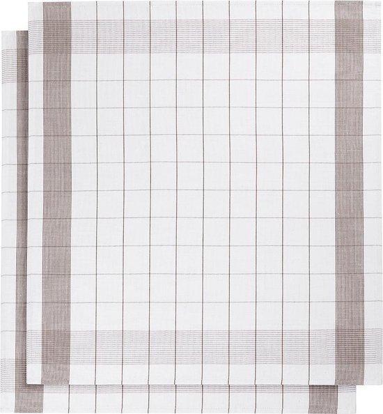 De Witte Lietaer  MIXTE – Keukenhanddoek – 68x68cm – set van 2 stuks – white/champignon