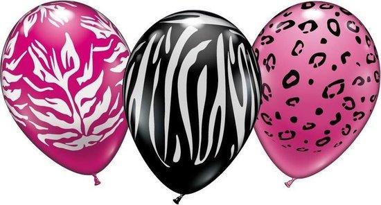 18x stuks Dierenprint thema party ballonnen 28 cm - Feestartikelen/versiering