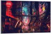 Plexiglas –Stad in de Nacht– 40x30 (Wanddecoratie op Plexiglas)