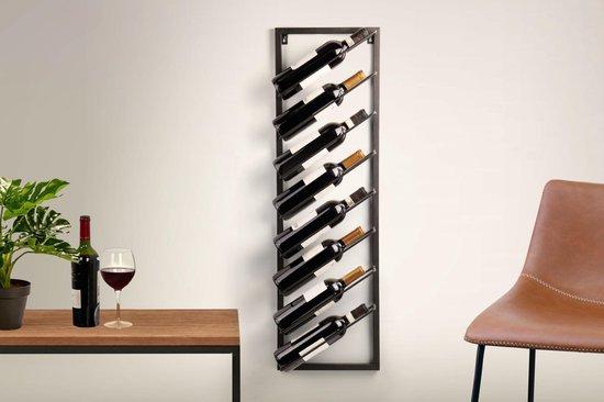 LIFA LIVING Wijnrek - Modern - Zwart - Metaal - Rechthoekig - 30 x 9,5 x 99,5 cm