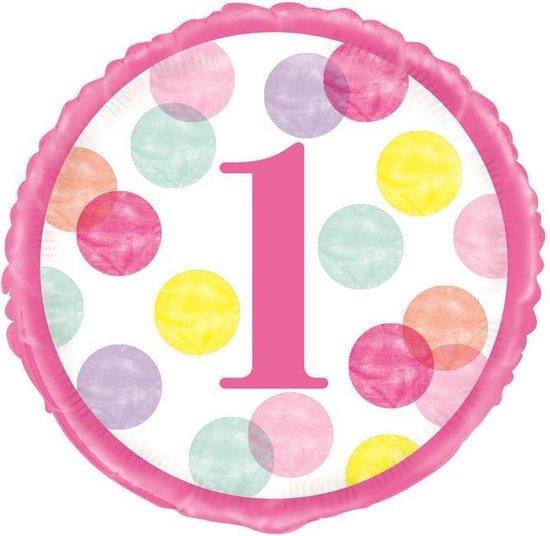 Haza Original Ballon First Birthday Meisjes 45 Cm Folie