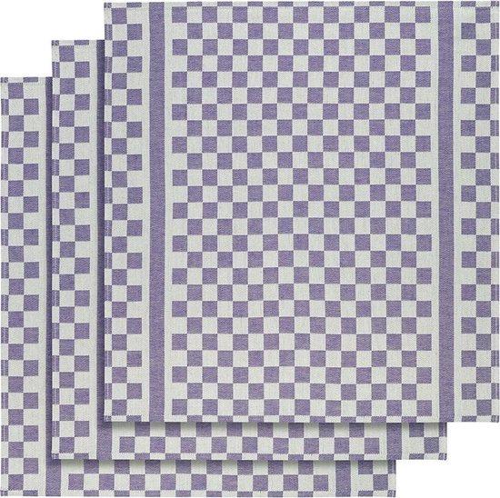 De Witte Lietaer Keukenhanddoek 65x70 Cm Katoen Wit/paars 3 Stuks