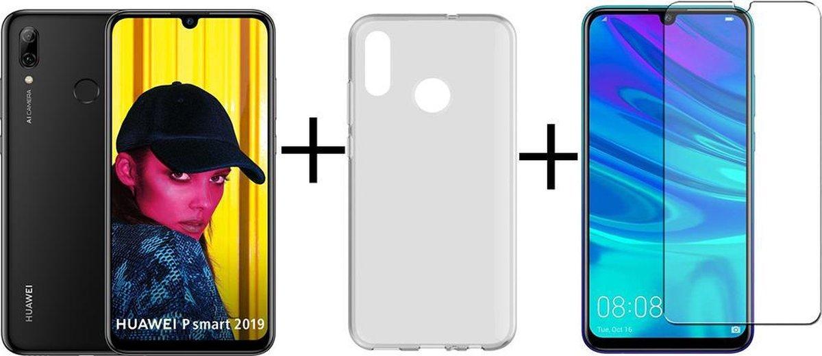 Huawei P Smart 2019 - 64GB - Zwart + Transparant silicone hoesje + Screenprotector kopen