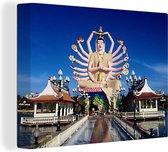Beeld van Shiva onder een blauwe lucht Hindoe 160x120 cm - Foto print op Canvas schilderij (Wanddecoratie woonkamer / slaapkamer) XXL / Groot formaat!
