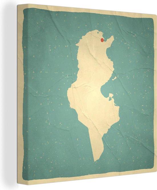 Een illustratie van Tunesië op een oude kaart 50x50 cm - Foto print op Canvas schilderij (Wanddecoratie woonkamer / slaapkamer)