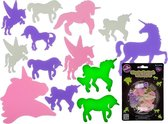 Fluoriserende Eenhoorns - Dubbelzijdige Lichtgevende Stickers