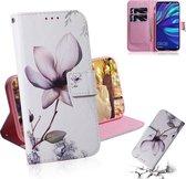 Let op type!! Magnolia bloem patroon gekleurde tekening horizontale Flip lederen case voor Huawei Y7 Prime (2019)/Y7 Pro (2019)/genieten van 9  met houder & card slots & portemonnee