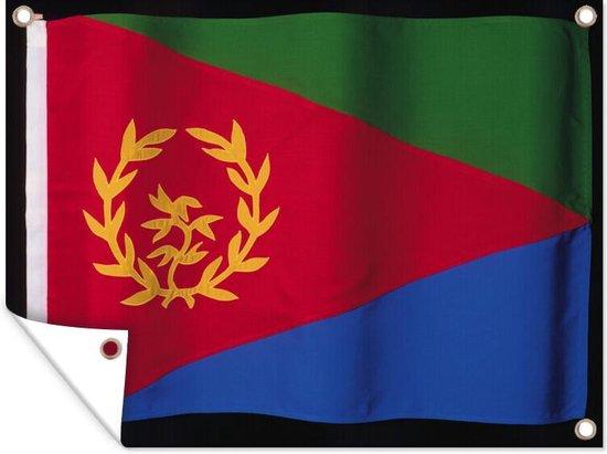 De vlag van Eritrea op een zwarte achtergrond tuinposter 160x120 cm - Tuindoek / Buitencanvas / Schilderijen voor buiten (tuin decoratie) XXL / Groot formaat!
