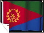 De vlag van Eritrea op een zwarte achtergrond tuinposter 80x60 cm - Tuindoek / Buitencanvas / Schilderijen voor buiten (tuin decoratie)