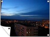 Het Oekraïense Charkov in de nacht tuinposter 160x120 cm - Tuindoek / Buitencanvas / Schilderijen voor buiten (tuin decoratie) XXL / Groot formaat!