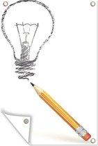 Illustratie van een getekende lamp tuinposter 60x90 cm - Tuindoek / Buitencanvas / Schilderijen voor buiten (tuin decoratie)