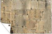 Antieke stenen muur met krassen tuinposter 120x80 cm - Tuindoek / Buitencanvas / Schilderijen voor buiten (tuin decoratie)