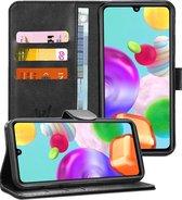 Samsung A41 Hoesje - Samsung Galaxy A41 Hoesje - Book Case Leer Wallet Zwart