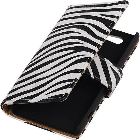 Zebra Bookstyle Hoes voor Sony Xperia Z4 Compact Wit