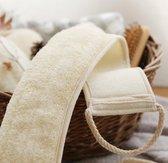 Rug Spons Scrubber van Loofah - Scrubborstel Doucheborstel Badborstel Massageborstel - Scrub Massage Douche & Bad Lichaam Borstel - Wit - 70cm
